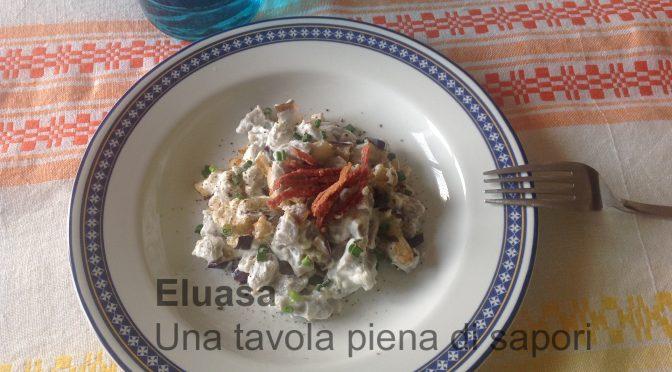 Chicche viola con melanzane,  ricotta e salame croccante