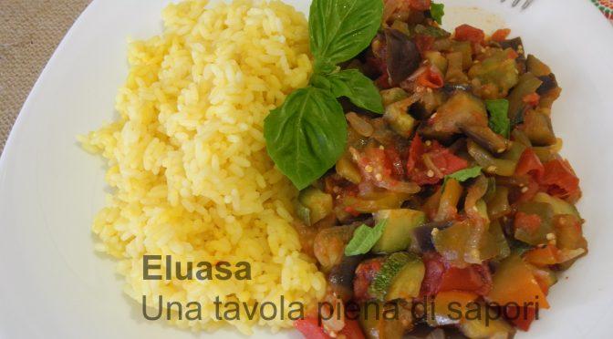 Risotto allo zafferano con verdure miste