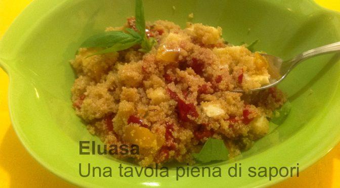 Insalata di amaranto con peperoni, formaggio e pomodorini confit